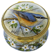 "Nuthatch (PSS-NH)  1.57"" diameter. Limited Edition of 30. Freehand painted by Sandra Selby."
