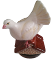 "Fantail Dove (Halcyon Days)  2.5"" tall. Bottom: Dove w/message."
