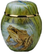 "Frogs Ginger Jar  (SH-F) 2 5/8"" tall. Freehand painted by Fiona Bakewell. Limited Edition of 25."