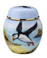 "Puffins Ginger Jar (SH-P)  2.62"" tall. Freehand painted by Fiona Bakewell. Limited Edition of 25."