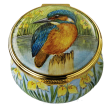 "Kingfisher (PS-K)  1.75"" diameter. Freehand painted by Sandra Selby. Limited Edition of 50."