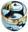 "Puffin (One head on lid) (Tm-PN) 1.25"" diameter. Freehand Painted by Fiona Bakewell. Limited Edition of 50."