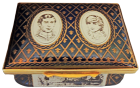 "Charles &  Diana Wedding (Blue)  2.87"" x 2"" x 1"" Inside Lid: ""A tribute to H.R.H. The Prince of Wales and the Lady Diana Spencer on the occassion of their marriage 29th July 1981""  Sides: Buckingham Palace, Caernavon Castle, Highgrove. LE 1000 Certificate"